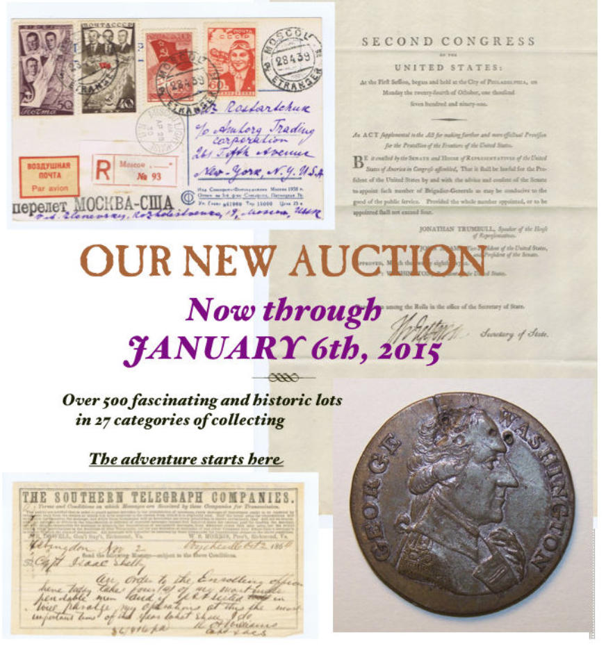 Auction of Historical Documents and Desirable Collectibles